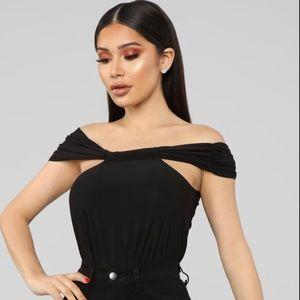 Fashion Nova Black Off Shoulder Top